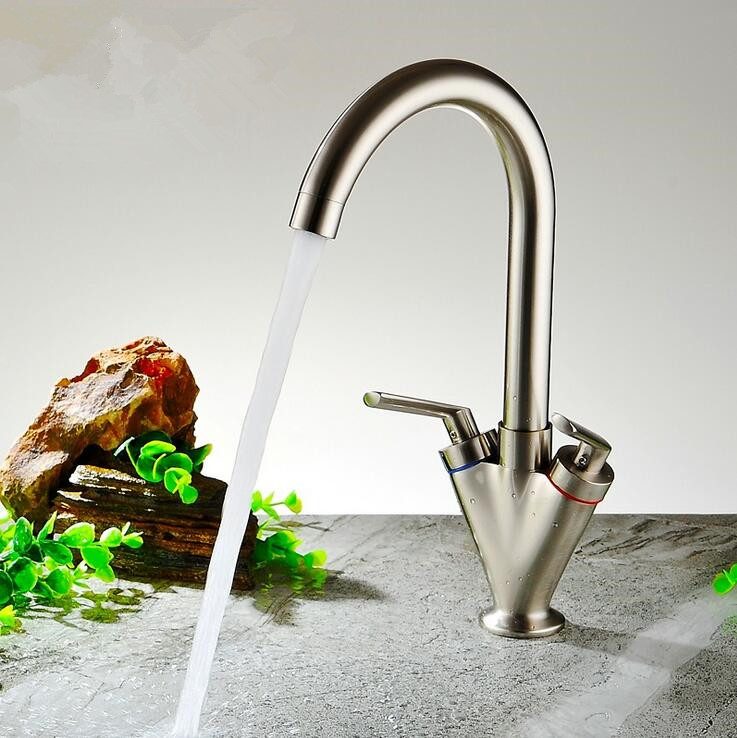 Double Handle brush nickel Kitchen Faucet Faucets Mixers Taps Kitchen Mixer Single Cold Tap Torneira Cozinha