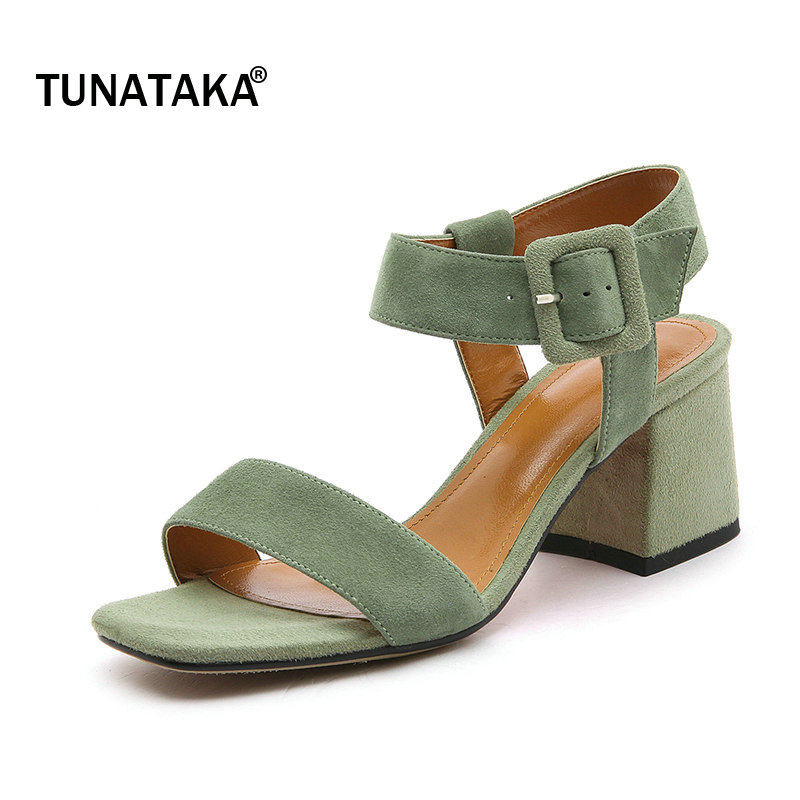 все цены на Suede Comfort Thick High Heel Ankle Strap Woman Sandals Fashion Buckle Dress High Heel Shoes Open Toe Summer Woman Shoes Black