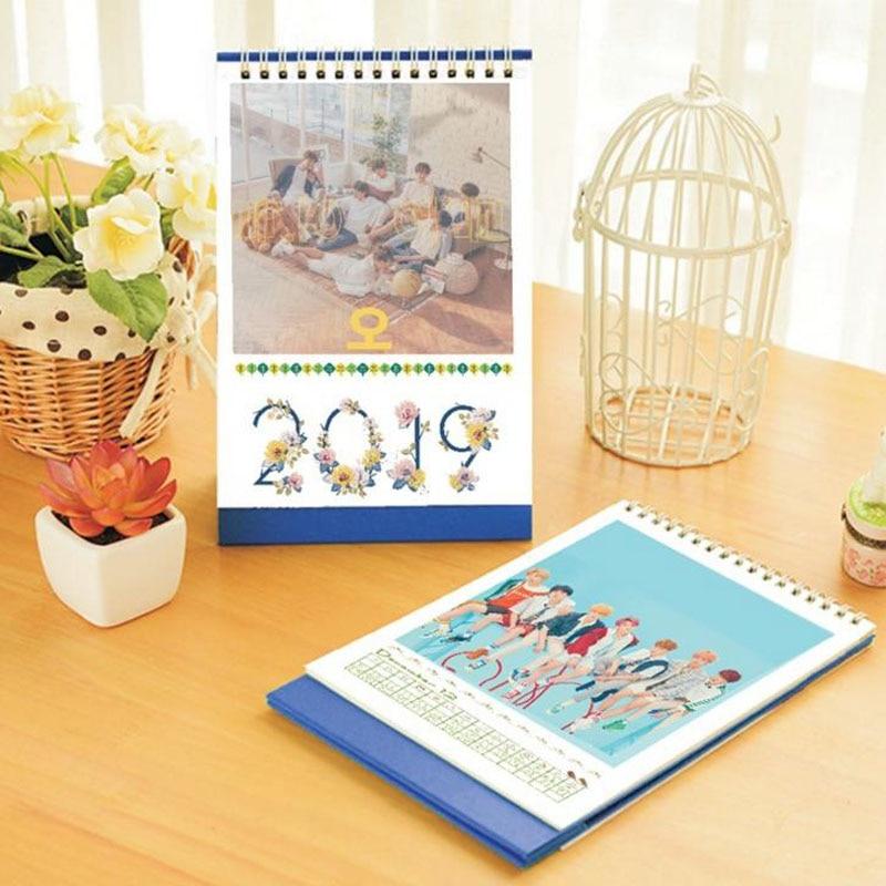 1 Pcs Novelty Kpop BTS BT21 2019 Desktop Calendar JUNGKOOK V JIMIN Wannaone Photo Picture Army Stationery Calendar цена