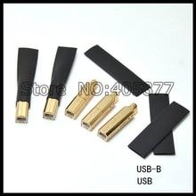 Un Set di Rame Placcato Oro USB A + B Tipo AB Spina Per Il FAI DA TE USB Cavo hifi connettore USB