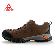HUMTTO Mens Genuine Leather Sport Outdoor Hiking Trekking Shoes Sneakers For Men Waterproof Climbing Mountain Shoes Man