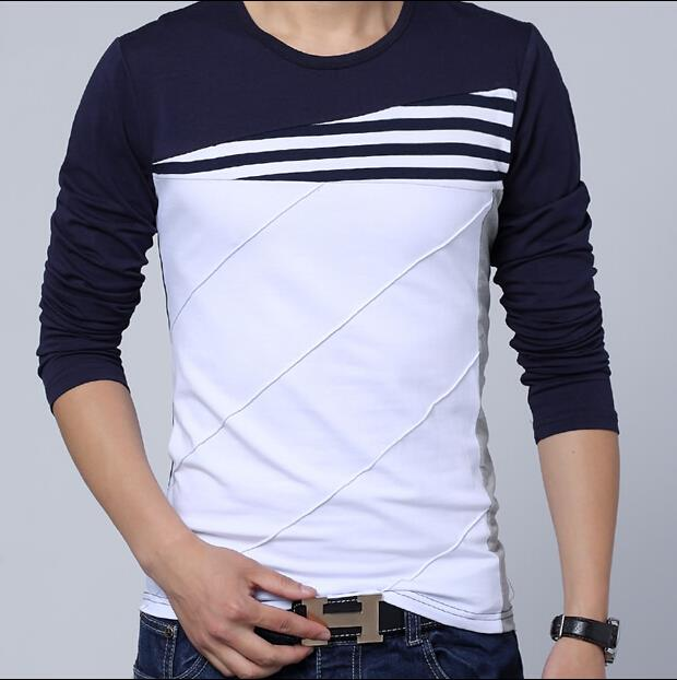 Navy Blue And White Striped Long Sleeve Shirt