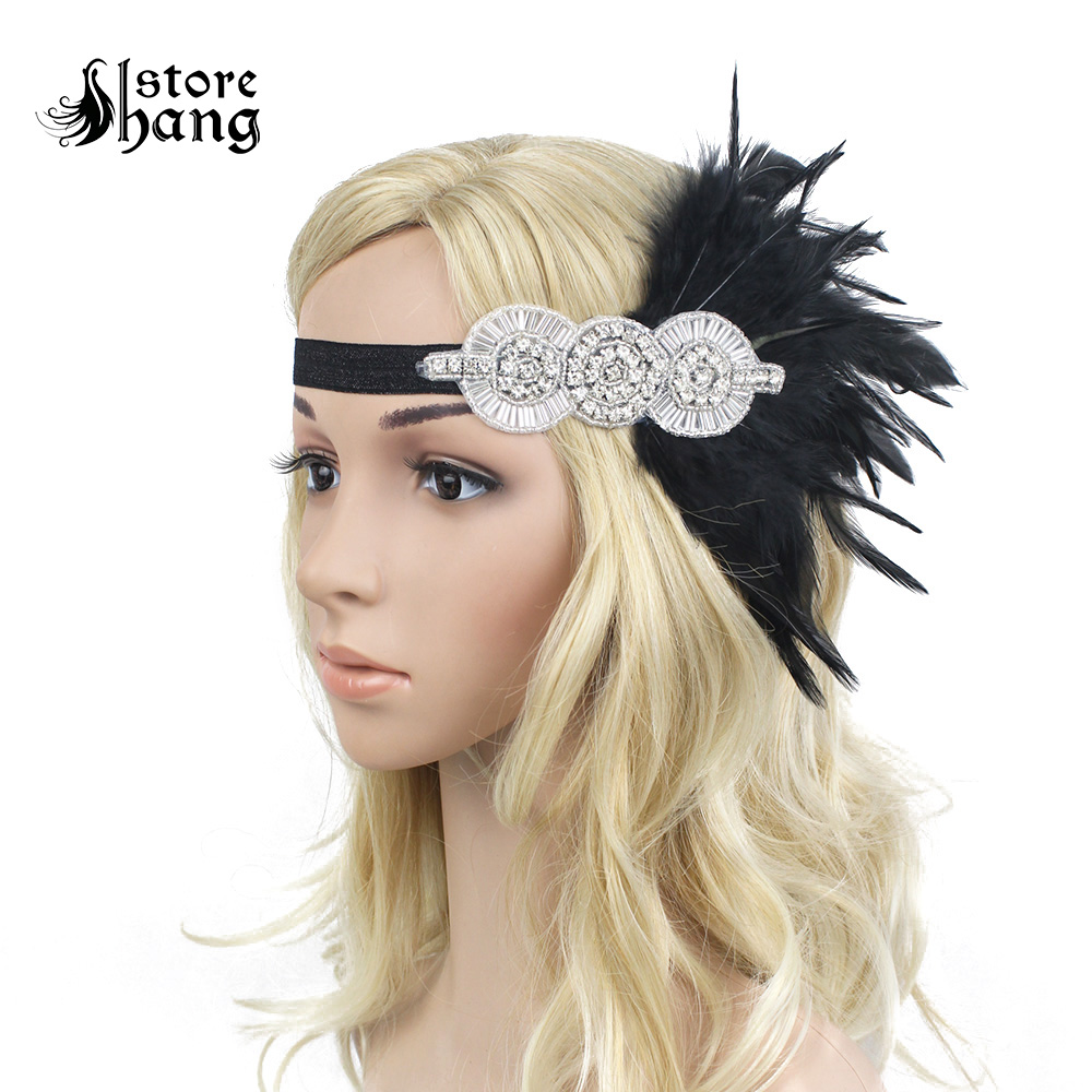 1920s 1930s Vintage Flapper Headpiece Beads Applique Feather Headband Roaring 20s Downton Abbey Gatsby Costume Accessories headpiece
