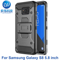 3 IN 1 Hybrid Shockproof Armor Protective Case Voor Samsung Galaxy S8 Cover Mobiele Telefoon Bag Coque Capa Stand Met Riem Clip