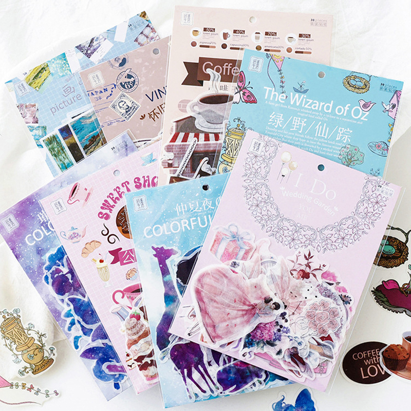 30pcs/Pack Kawaii Cartoon Star Girl Sticker Pack Scrapbooking Creative Diy Journal Decorative Adhesive Labels Cute Stationery
