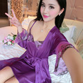 women summer purple wire harness womens pajamas red two-piece  nightgown pink sexy loose gown lace up champagne nightdress woman