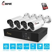 Keeper H.265 4CH POE NVR Kit 2MP 1080P Security Camera CCTV System Outdoor IP Camera IP66 Waterproof P2P  Onvif Surveillance Set