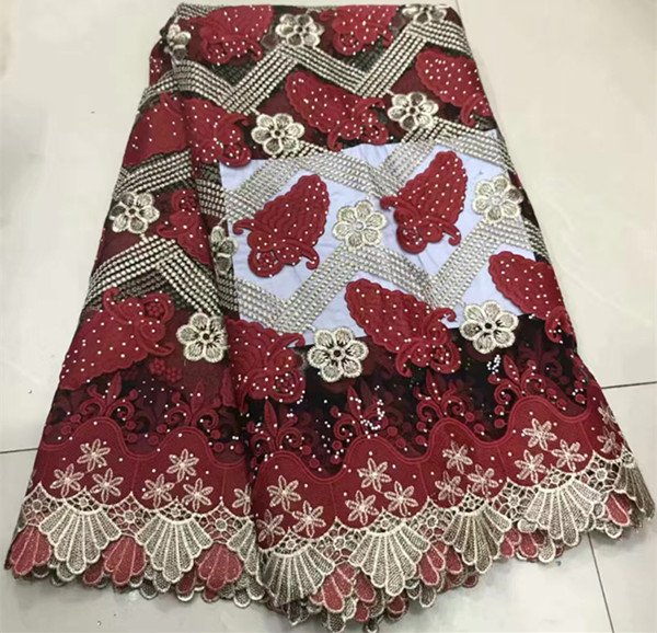 Popular 5yards embroidered african french lace fabric with stone nigerian lace fabrics for dress guipure lace