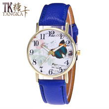 2017 woman watch fashion brand girl lychee pattern leather round Quartz Wristwatches Retro Butterfly Casual Ladies Clockwise