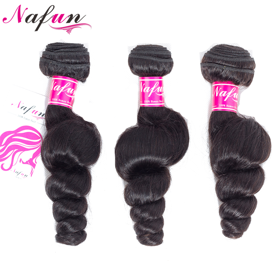 NAFUN Hair Malaysia Loose Wave 3 Bundles 8-26 Inch Non Remy 100% Human Hair Bundles Natural Color Hair Weave Free Shipping