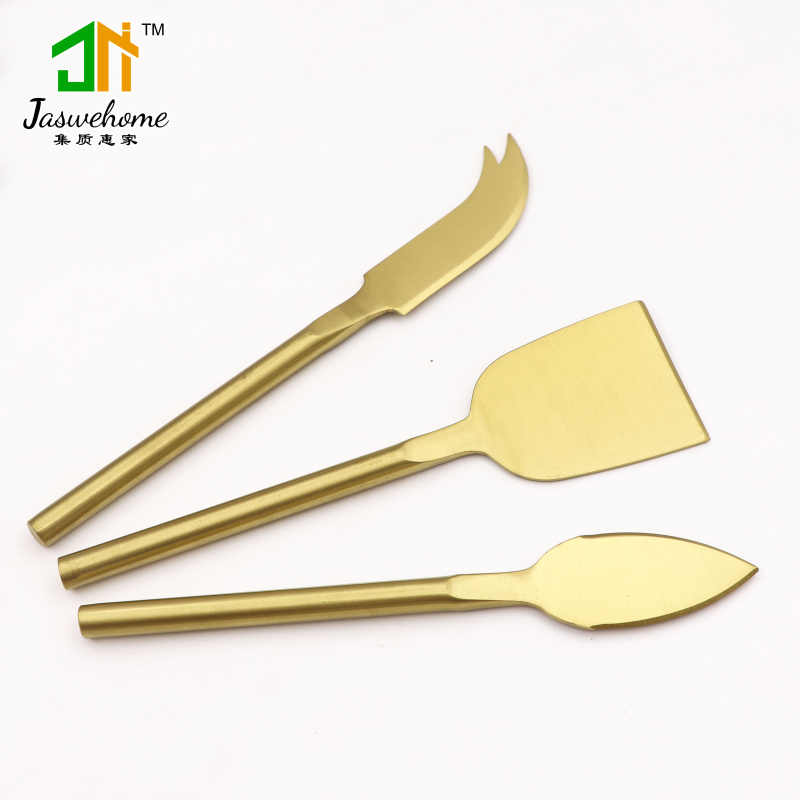 Jaswehome 3pcs Gold Plated Stainless Steel Cheese Knife Set Titanium Knife Wedding Cake Knife Cheese Slicer Cutter Cheese Tools Aliexpress