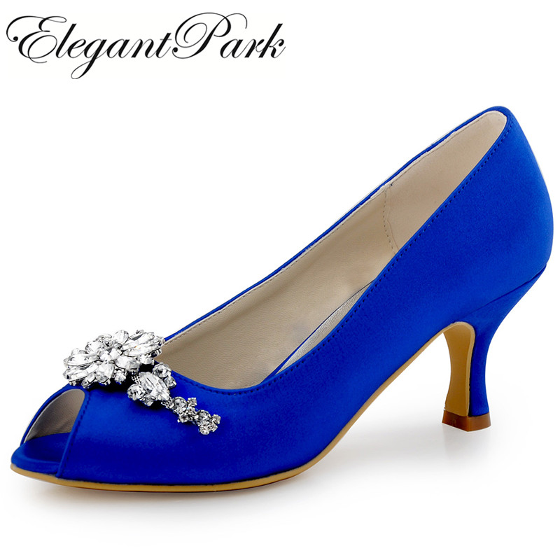 Shoes Woman Blue Evening Party Prom Mid Heels Pumps Clip Buckle Satin Bride Bridesmaids Wedding Bridal Shoes women shoes HP1541 hp1541 teal navy blue women bride bridesmaids peep toe prom pumps low heels satin lace rhinestones wedding bridal party shoes