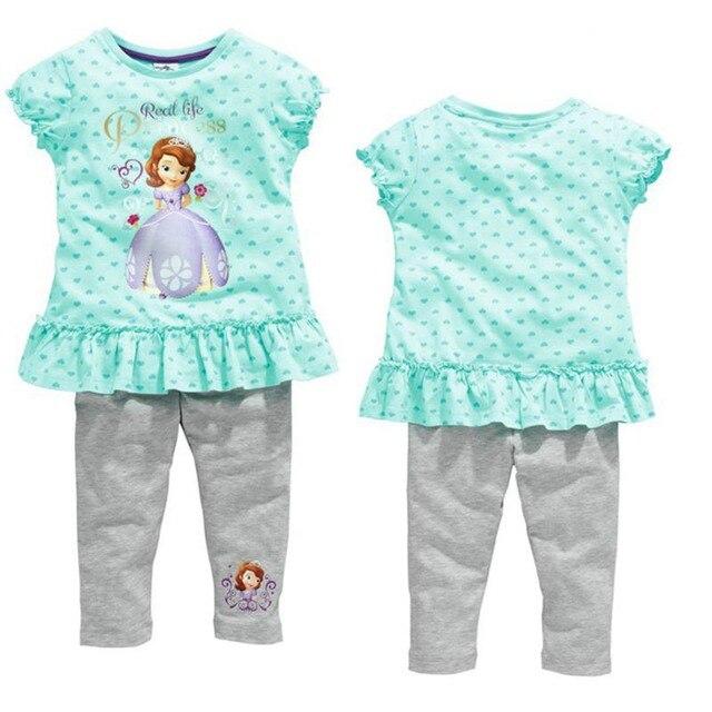 2364b768d0 Tamanho 80 Inteligente Sofia Princesa Meninas Roupas de Verão Do Bebê Menina  Camiseta Crianças Calças de