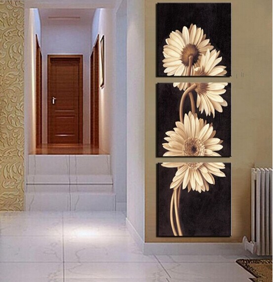 Framed HD Printed 3 Piece Canvas Art Wall Painting Flower Painting Wall Pictures for Living Room in Painting Calligraphy from Home Garden
