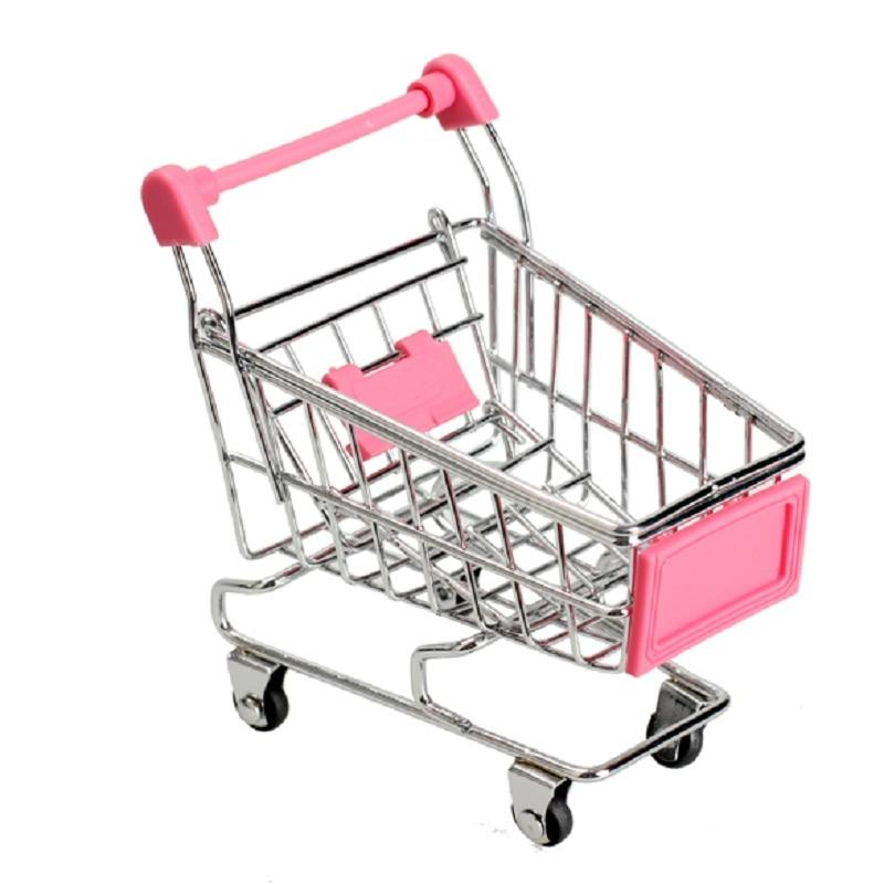1Pcs Mini Supermarket Shopping Trolley Phone Holder Office Desk Storage Shopping Cart Toy Handcart Eco-Friendly Basket