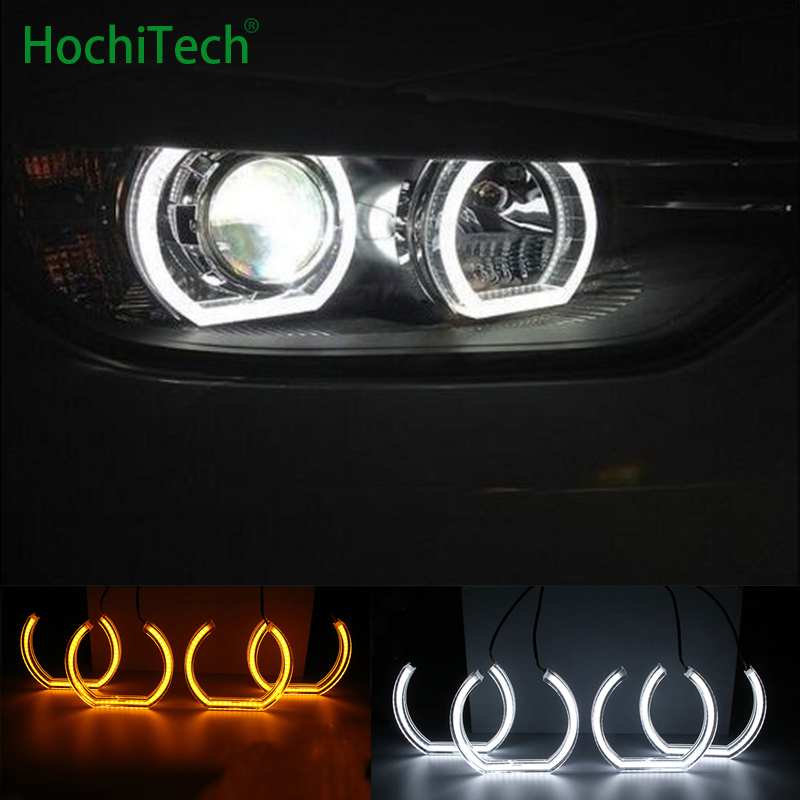 White and Turn Yellow Signal Crystal DTM Style LED Angel Eyes Halo Rings Light kits for