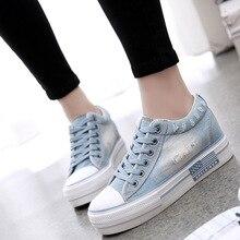2019 primavera Coreano sapatas de lona fundo grosso aumentou denim sapatos estudante ocasional das senhoras das mulheres sapatos de pano.