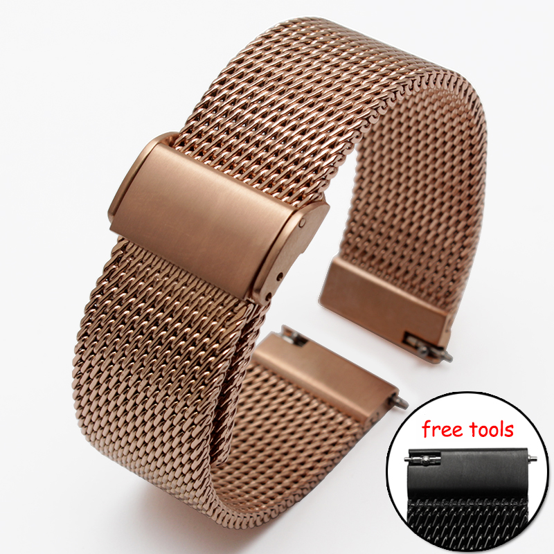 New ultra-thin Stainless steel Watchband Mesh strap for Moto 360 smart watch 18mm 20mm 21mm 22mm 24mm Bracelets 22mm buckle 20mm t039417 new pure solid stainless steel watchband watch strap bracelets for t039