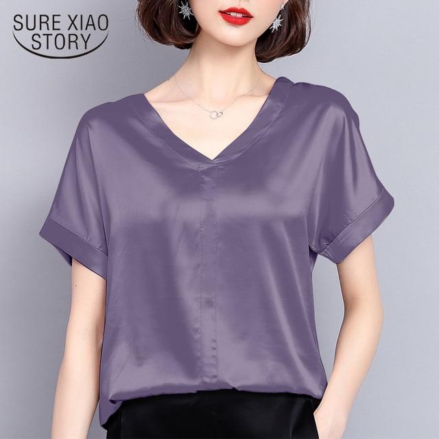 f7dcddec1b597c new summer women tops silk casual solid women blouses shirts v-neck fashion  2018 plus size women elegant female clothing 0420 40