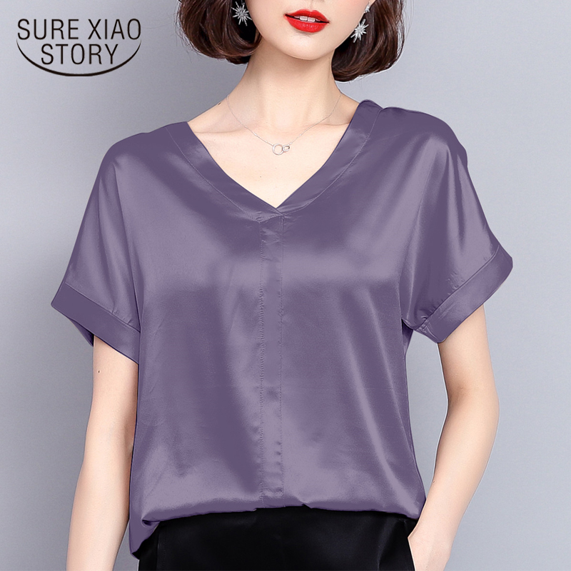 new summer women tops silk casual solid women   blouses     shirts   v-neck fashion 2018 plus size women elegant female clothing 0420 40