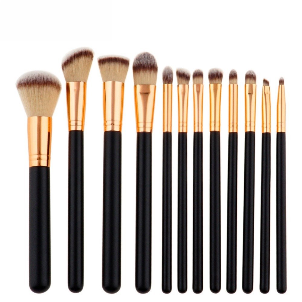 Professional 12pcs makeup brush Beauty tools Foundation Powder Eyeshadow makeup brush Sets Cylinder Gradient hair black handle