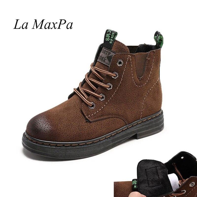 La MaxPa Dr. Martens Pascal delle Donne Del Progettista di Inverno Retrò In Pelle Lace Up Moto Stivali Donna Intagliare Caviglia di trasporto Caldo Martens