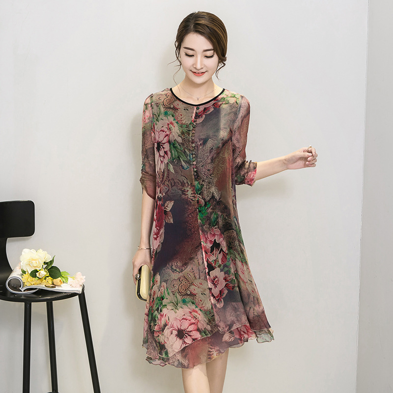 Millyn Spring New Fashion large size Women Summer Plus size clothing silk vintage bohemia party dresses vestidos M 4XL in Dresses from Women 39 s Clothing