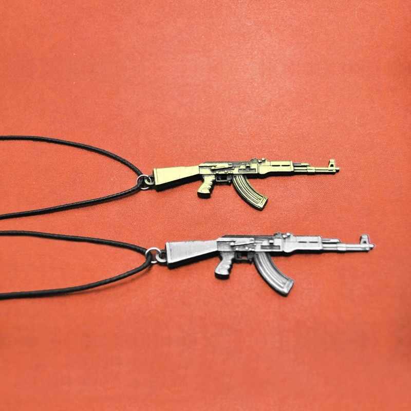 Oryginalny nowy skórzany łańcuch Counter Strike AK47 pistolet wisiorek naszyjnik dla mężczyzn w stylu Vintage złoty CS GO AK47 naszyjnik biżuteria mężczyzna prezent
