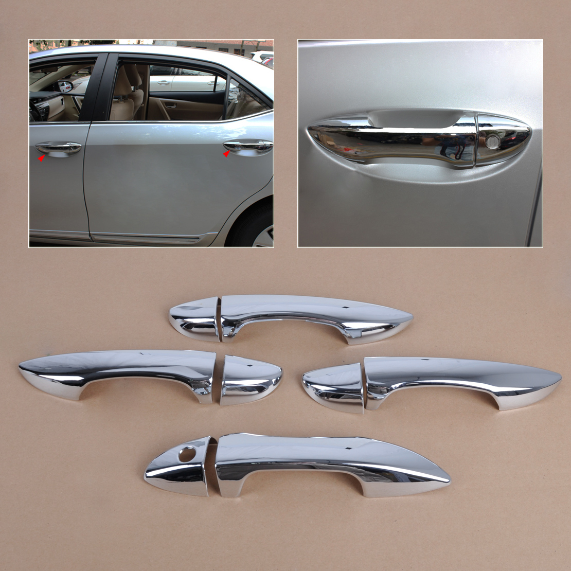 Beler new high quality chrome door handle cover trim outer car accessories doors handle covers for