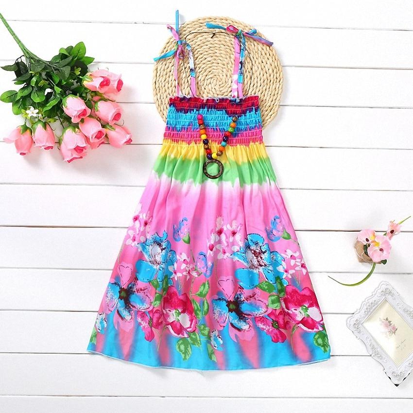 Belababy-Summer-Bohemian-Beach-Girls-Dress-With-Beading-Necklace-Sundress-Floral-Sling-Dress-For-Girl-Vestido-Infantil-4