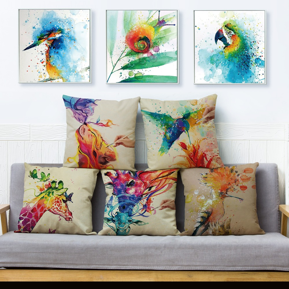100% Quality Watercolor Hand Painted Animal Giraffe Bird Cushion Cover Home Decor Cartoon Pillow Cover Pillows Case For Sofa 45*45cm Fancy Colours