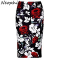 Neophil Retro Red Rose Floral Pattern Printed Women Sexy Bodycon Midi Pencil Skirts Plus Size 2016 Autumn Office Work Saia S0909