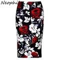 Neophil Retro Red Rose Floral Pattern Printed Women Sexy Bodycon Midi Pencil Skirts Plus Size 2016 Autumn Office Work Saia S0909