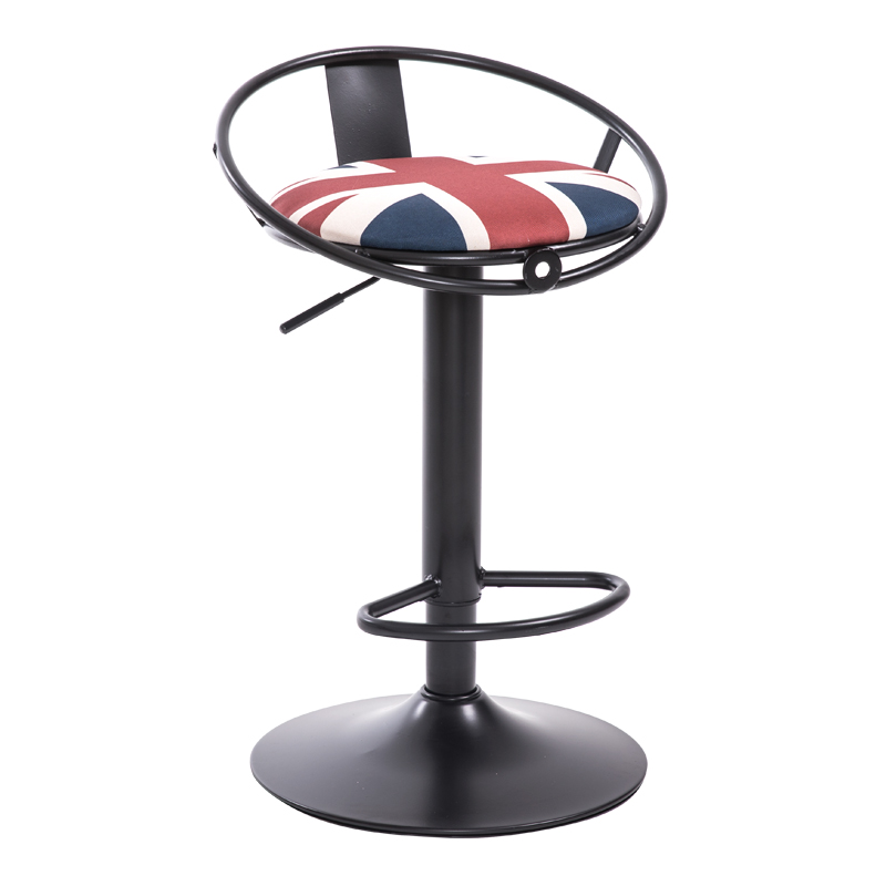 Iron Art Bar Chair European Style Rotated High Stool With Footrest Household Leisure Lifted Bar Stool Front Desk Reception Chair