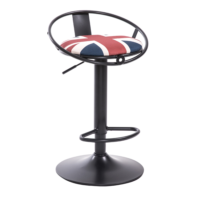 Iron Art Bar Chair European Style Rotated High Stool With Footrest  Household Leisure Lifted Bar Stool