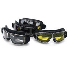 Universal helmet goggles with eyeware lens motorcycle goggle vintage pilot biker Leather Eyewear/skiing glasses/racing glasses