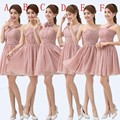 New Chiffon Short Bridesmaid Dresses 2017 Fashionable Sweetheart Ruched Women Dress to Party A-F style