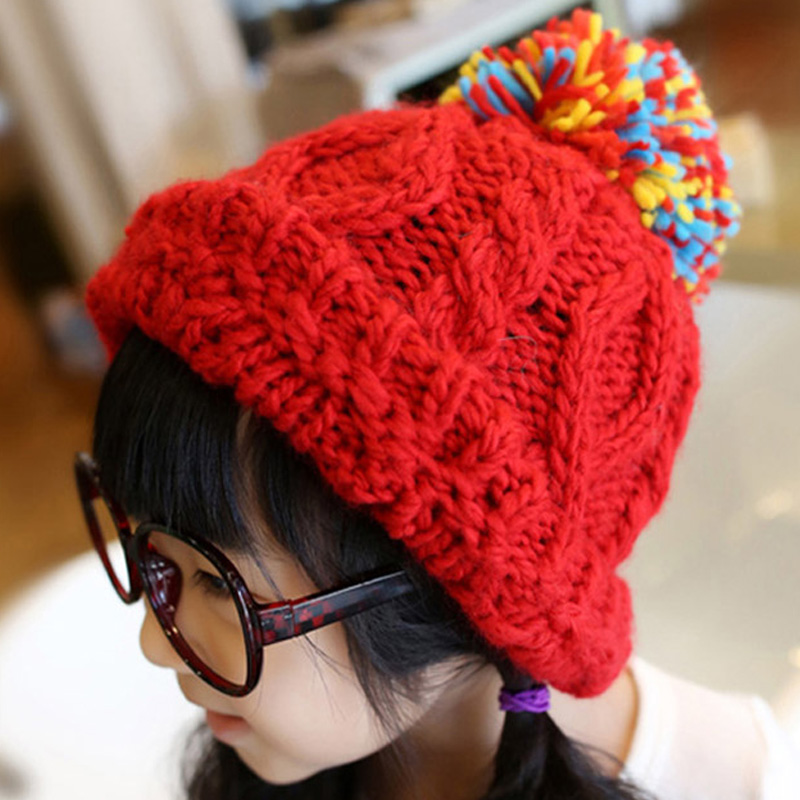 2016 Hot Winter Hat Fashion Brands Baby Girls Big Ball Wool Cute  Hat Beanies Thick Warm Knitted Hat For Children baby hat cute the high quality knitting wool hat children winter warm knitted cap girls photography headwear caps
