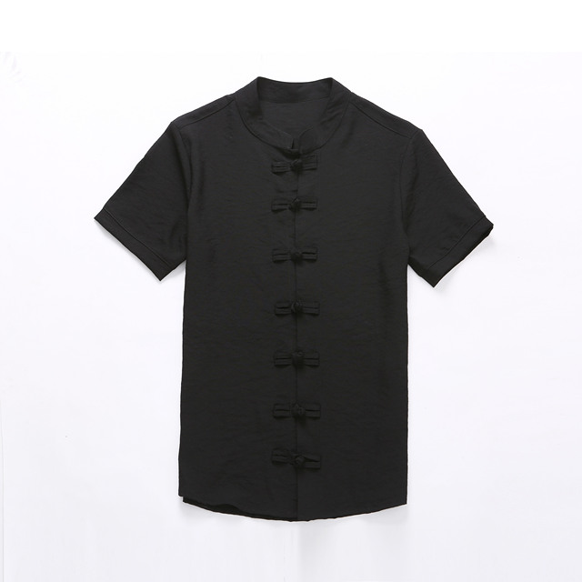 Chinese Style Linen Slim Fit Casual Short Sleeve Dress Shirt 5