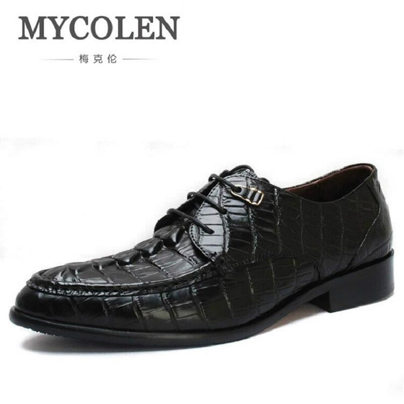 MYCOLEN Men Oxfords Shoes Crocodile Pattern Genuine Leather Men Dress Shoes Luxury Men'S Business Classic Gentleman Formal Shoes casual metal and flat heel design short boots for women