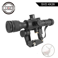 LUGER Tactical SVD Dragunov Optics 4x26 Red Illuminated Riflescope Red Dot Sight Rifle Scopes For Airsoft Air Gun Hunting