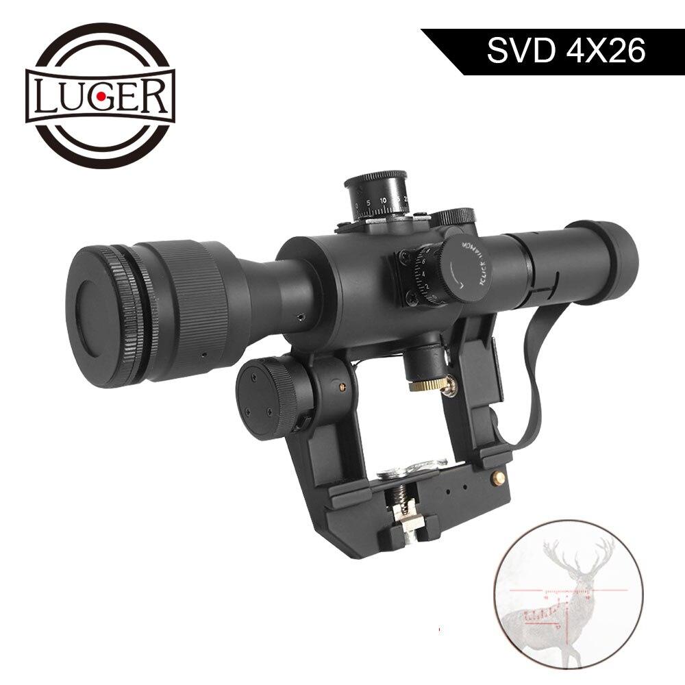 LUGER tactique SVD Dragunov optique 4x26 rouge illuminé lunette de visée point rouge visée lunette de visée pour Airsoft Air Gun chasse