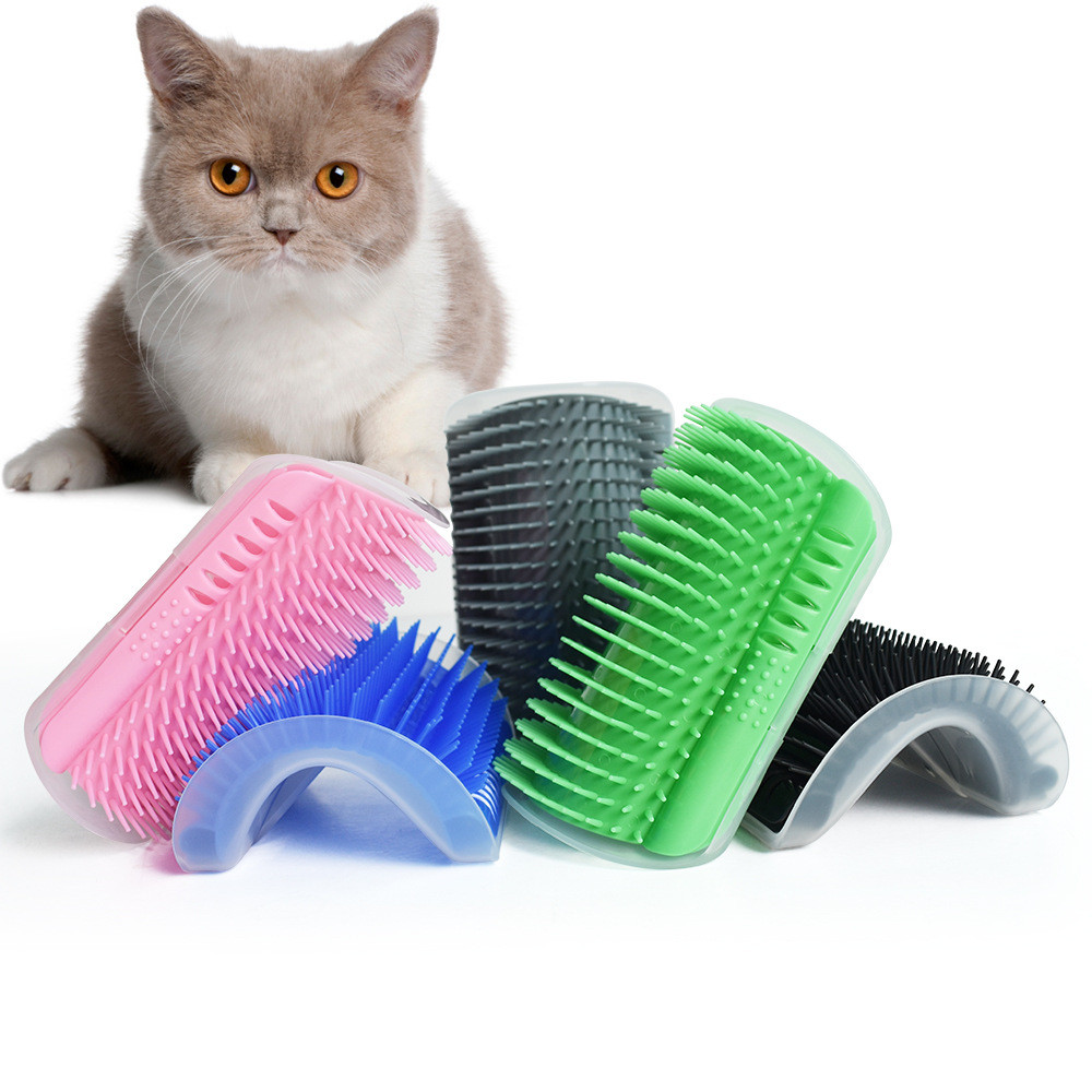 Pet Cat Self Groomer With Catnip Grooming Tool Hair Removal Brush Comb For Cats Hair Shedding Trimming Dog Cat Massage Device