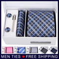 New model 6pcs/set 100% Silk ties Men's Ties fashion Necktie set Plaid Stripe 8.5cm Mans Tie Neckties with gift box