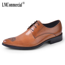 Business Shoes men British real leather breathable mens shoes bullock carved suit  formal dress cowhide oxford