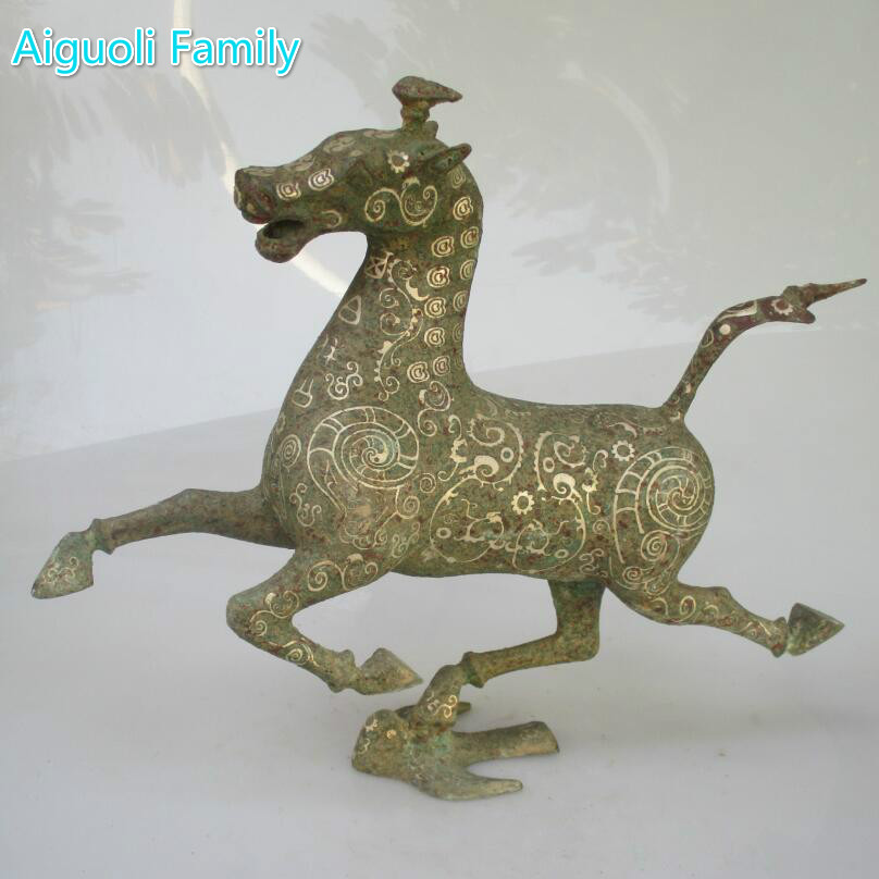 Only 1 Piece!!! The Most Valuable East Art Horse ,Rare Chinese Han Dynasty Bronze Horse Statue ,Horse Riding Swallow Sculpture