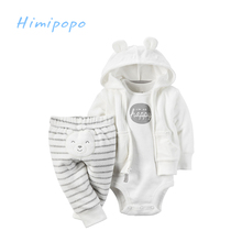HIMIPOPO Flannel Baby Winter Clothes Sets Toddler Boys Girls Outfit Cute Ear Hooded Infant Cardigan Set Coat+Bodysuit+Pants 3pcs
