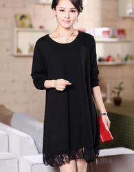 loose plus size clothing knitted one-piece dress medium-long maternity lace wool basic shirt 5