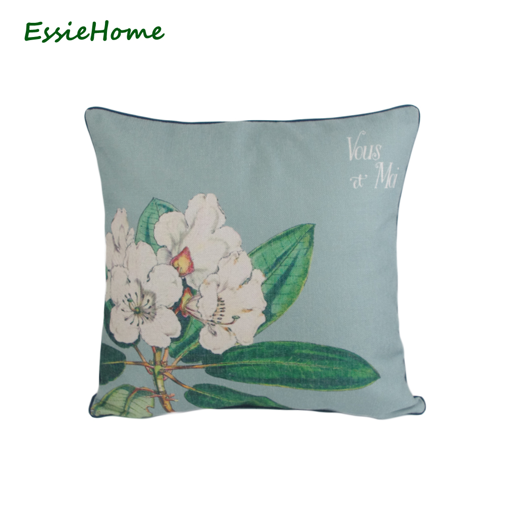 Home & Garden 45*45cm European Pastoral Style Embroidered Holiday Yellow Rose Linen& Cotton Cushion Cover Without Interior