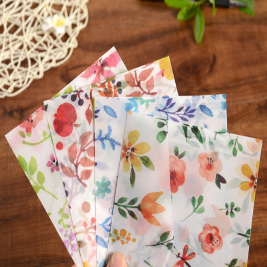 4pcs/lot  Cute Flowers Sulfuric Acid Paper Translucent Envelope Message Card Letter Stationary 12.5*17.5cm